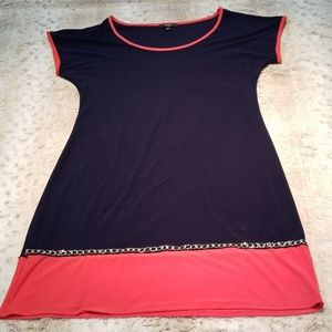 MSK Navy and Red Jersey Dress w Metallic Accents